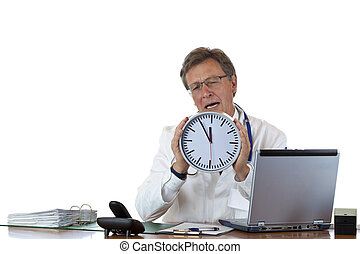 Stressed doctor holds clock and cries because of time pressure