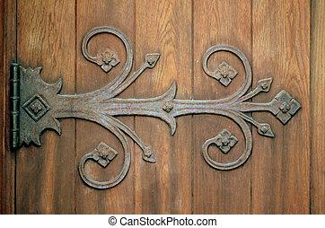ornamental, hierro, bisagra, en, un, viejo, de madera,...