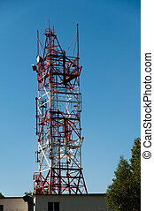 Communication tower consisting of various dishes and...