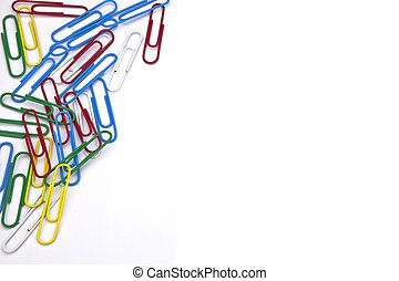 paper clips - several paper clips as a frame on a white...