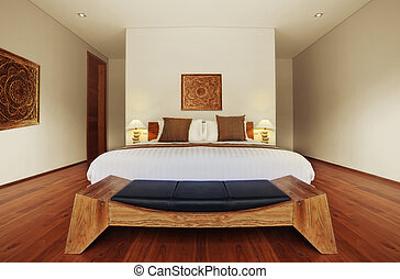 bedroom - panoramic view of nice cozy decorated bedroom...