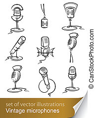 set vintage microphone vector illustration isolated on white...
