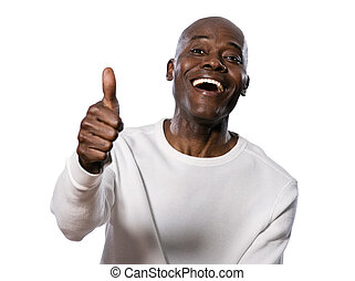Portrait of happy man showing thumbs up - Portrait of a very...