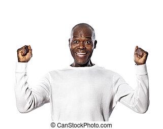 Retrato, afro, americano, homem, sucesso, imitador