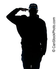 Silhouetted image of policeman saluting - Silhouette...