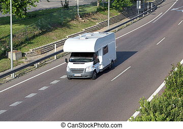 RV - Recreational vehicle on the road