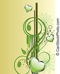 floral hearts - vector illustration of green hearts on a...