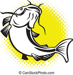 Catfish jumping up with halftone dots - illustration of a...