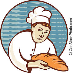 baker chef with loaf of bread retro