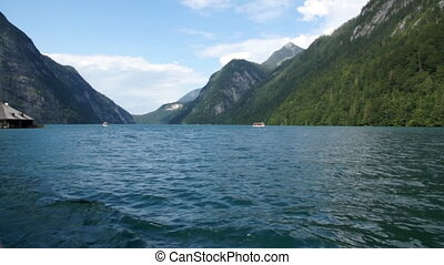 Konigssee, panoramic view with boat