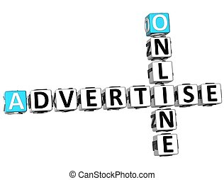 3D Advertise Online Crossword on white background
