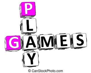 3D Play Games Crossword
