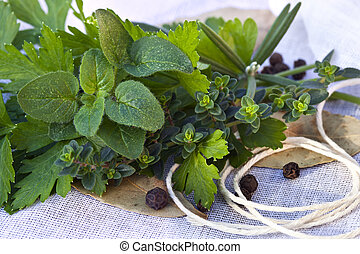 Bouquet Garni - Bouquet garni of fresh herbs and...