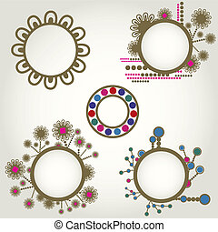 Vintage frames with flowers - Vector set of vintage frames...