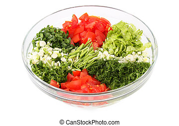 Vegetables are cut into slices - Cut into slices with a...