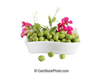 Green Peas and a branch with flower