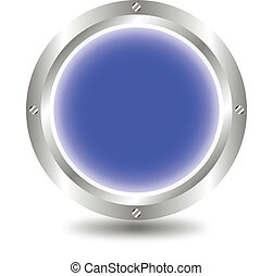 Blue button - A large, metallic, blue button - vector