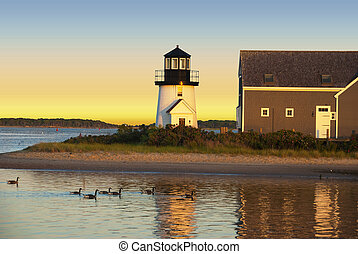 Hyannis harbor lighthouse at sunset with a gaggle of ducks...