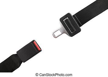 Seat belt - Opened seat belt. All on white background.