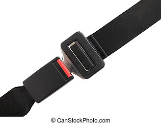 Seat belt - Fastened seat belt. All on white background.