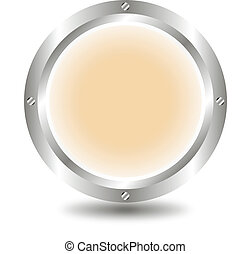 Light brown button - A large, metallic, light brown button -...