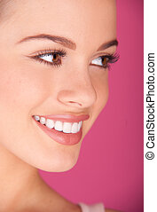 perfect teeth smiling - Beautiful young woman perfect teeth...