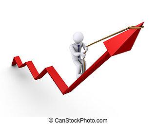 Businessman climbing graph - 3d businessman climbing on...