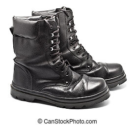 Black Leather Army Boots - black leather army boots isolated...