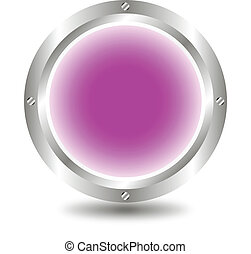 Purple button - A large, metallic, purple button - vector
