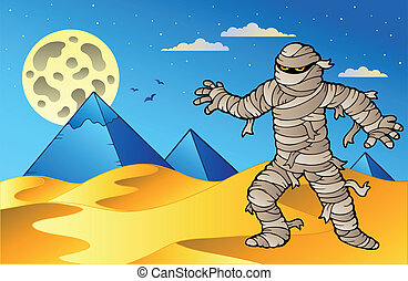 Night scene with mummy and pyramids - vector illustration