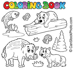 Coloring book with woodland animals - vector illustration.