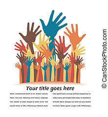 Large group of happy hands design - Large group of happy...