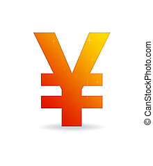 Orange Yen Sign - High resolution orange Yen sign standing...