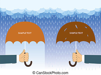 Hands holding umbrellas under big rain.Vector background for...
