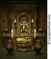 The mysterious Altar - a room with altar in fantasy style