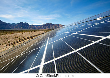 Solar panels in the Mojave Desert - View of solar panels in...