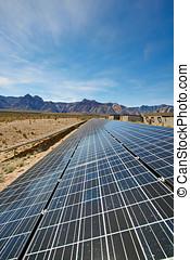 Solar panels in the Mojave Desert. - View of solar panels in...