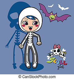 Skeleton Girl - Cute little girl wearing skeleton costume...