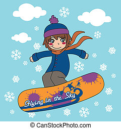 Snowboarding The Sky - Young kid flying through the sky with...