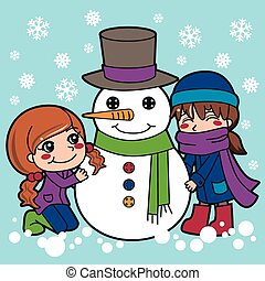 Girls Making Snowman - Two girls having fun making a cute...