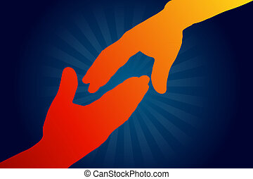 Reach out - High resolution graphic of 2 people reaching out...