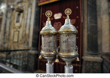 silver rimonims in the synagogue of Carpentras,France....