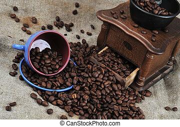 café, amoladora, taza