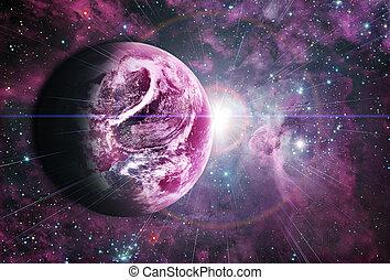 bonito, amanhecer, vermelho, planeta, espaço