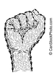 Human Unity - illustration of fist made of human icon on...