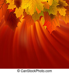 Autumnal leafs of maple and sunlight EPS 8 vector file...
