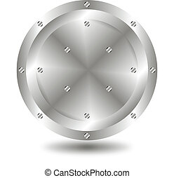 Metallic button - A large, metallic button - vector
