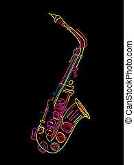 Saxophone  - Illustration of a saxophone over black
