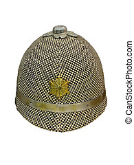 vintage japan fireman hat isolated, textile clothing object