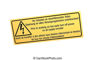 abstract warning sign isolated